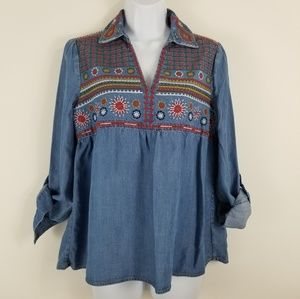 Philosophy Tencel Denim Embroidered shirt XS